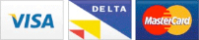 VISA, Delta and Mastercard accepted