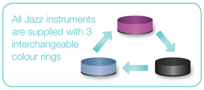 All Jazz instruments are supplied with 3 interchangeable colour rings.